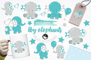 Boy elephant illustration pack
