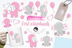 Girl elephant illustration pack