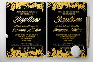 Baptism Gold Florist Invitation