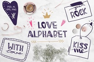 Cute alphabet for Valentine's Day