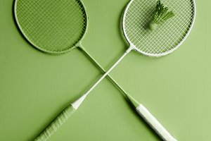Green badminton rackets