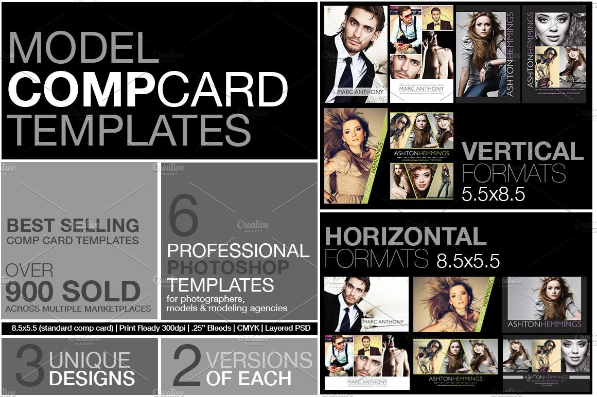 Model Comp Card Kit ~ Flyer Templates ~ Creative Market