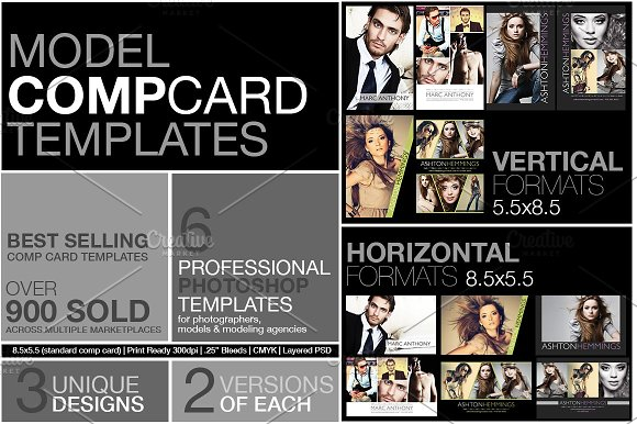 Model comp card kit flyer templates creative market for Free model comp card template psd