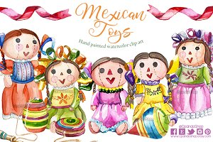 Mexican toys watercolor clip art