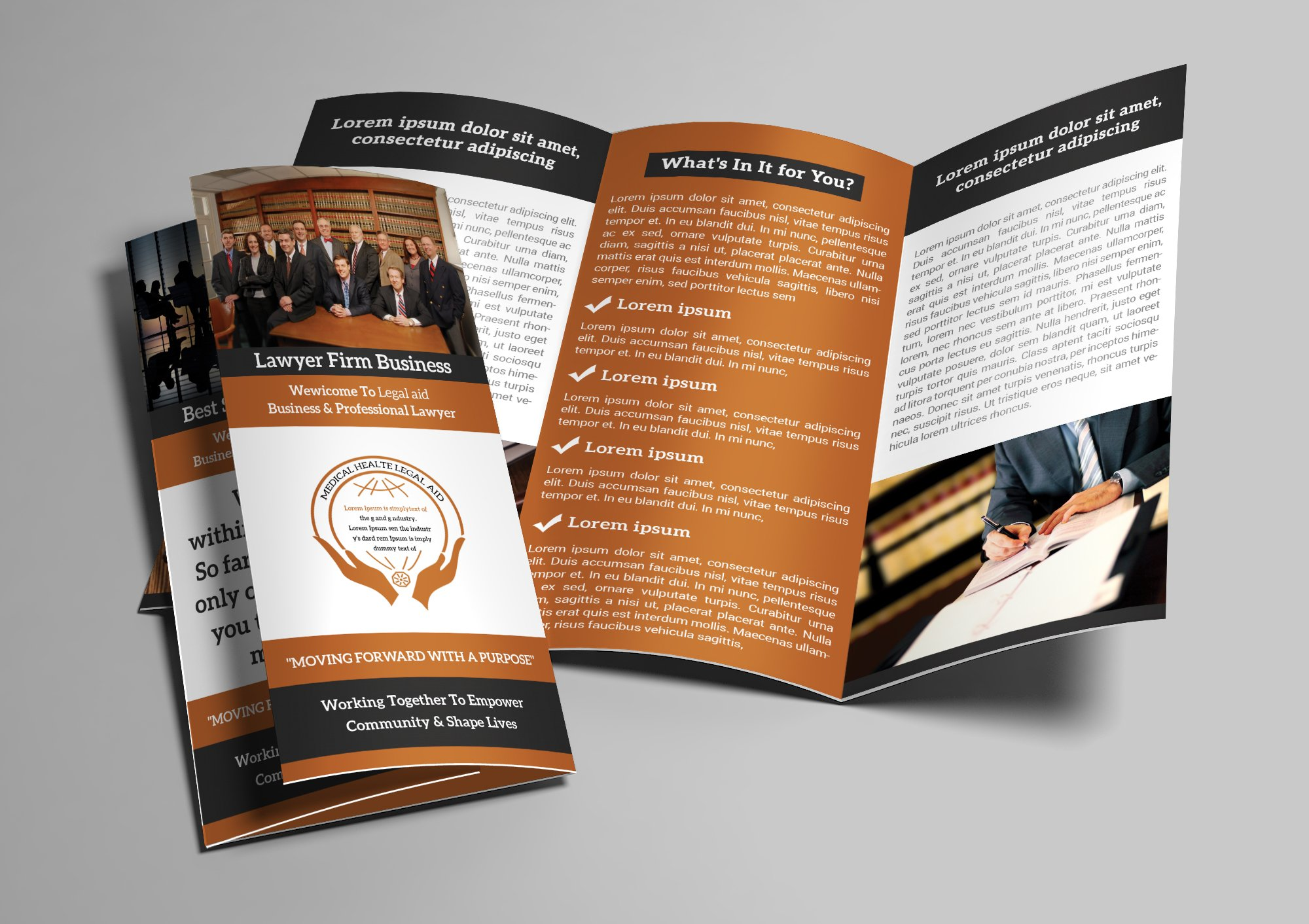 law firm trifold brochure brochure templates creative. Black Bedroom Furniture Sets. Home Design Ideas