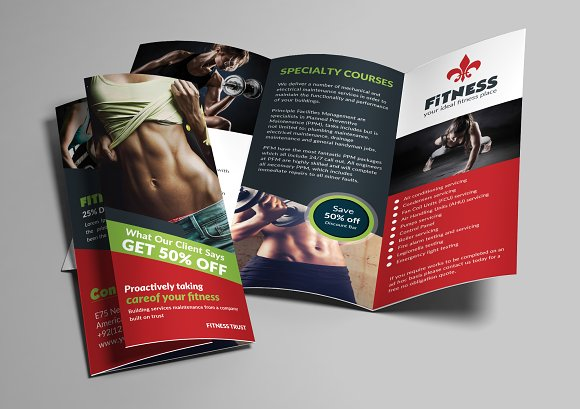 Gym and Fitness trifold Brochures Brochure Templates on Creative – Gym Brochure