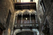 Neo-Gothic bridge and facade detail