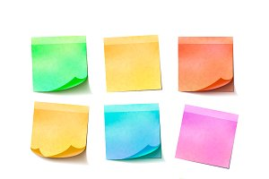 Nine different colorful sticky notes