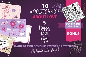 10 postcard Valentine's Day