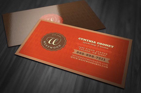 Retro Style Business Card Business Card Templates Creative Market