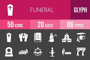 50 Funeral Glyph Inverted Icons
