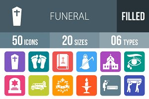 50 Funeral Flat Round Corner Icons