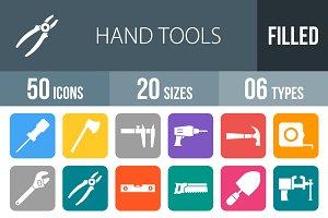 50 Hand Tool Flat Round Corner Icons