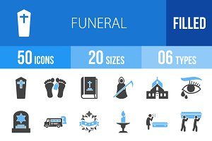 50 Funeral Blue & Black Icons