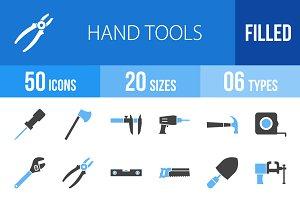 50 Hand Tools Blue & Black Icons