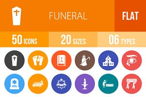 50 Funeral Flat Round Icons