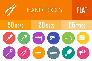 50 Hand Tools Flat Round Icons