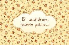 12 hand-drawn sweet seamless pattern