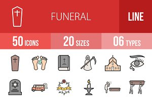 50 Funeral Filled Line Icons