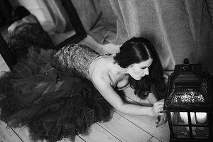 Black and white art woman portrait