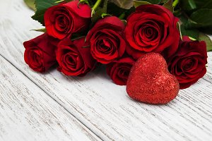 Red roses  with  heart