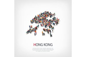 people map country Hong Kong vector
