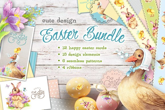 Watercolor Easter Bundle cu-Graphicriver中文最全的素材分享平台