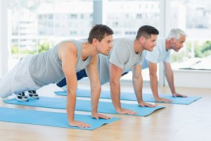 Men doing push ups
