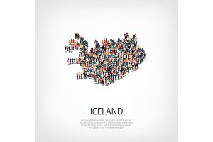 people map country Iceland vector
