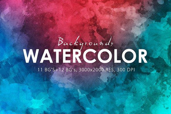 Watercolor Backgrounds & Bonus