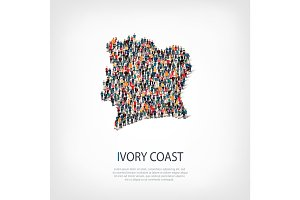 people map country Ivory Coast vector