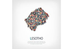 people map country Lesotho vector
