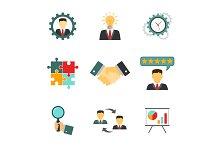 Management icons flat