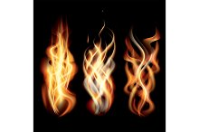 Realistic Burning Fire Flames Set.