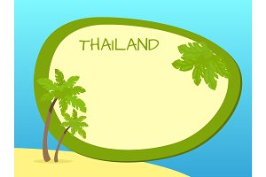 Thailand Island with Palms and Label in Centre