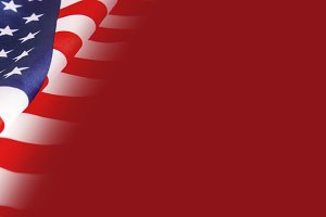 USA flag on red background