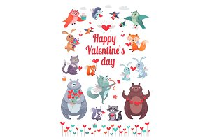 Happy Valentine's Day. Greeting Card with Animals