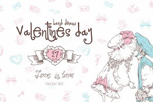 Valentine's Day Hand Draw Vector Set