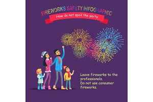 Fireworks Safety Infographic, People Look at Sky