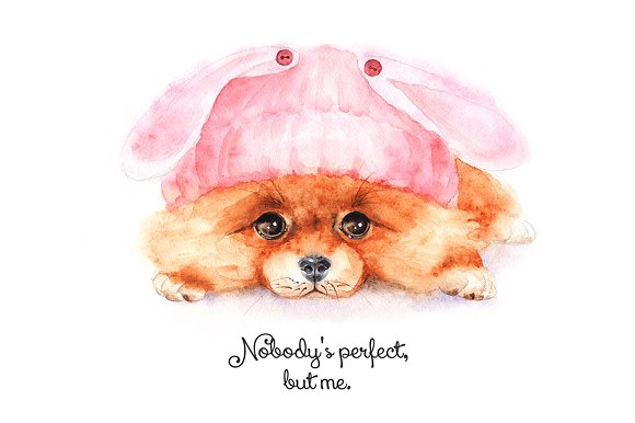 Watercolor Little Dog