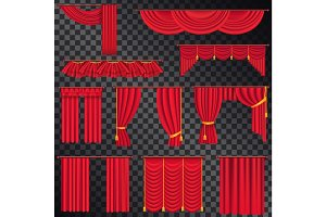 Red Curtains for Theatres Collection on Black