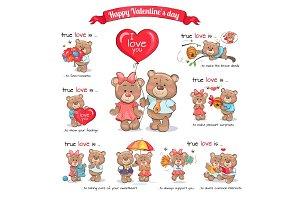 Two Teddy Bears Celebrate Happy Valentine's Day