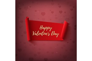 Happy Valentines Day, red, abstract banner on blurred background.