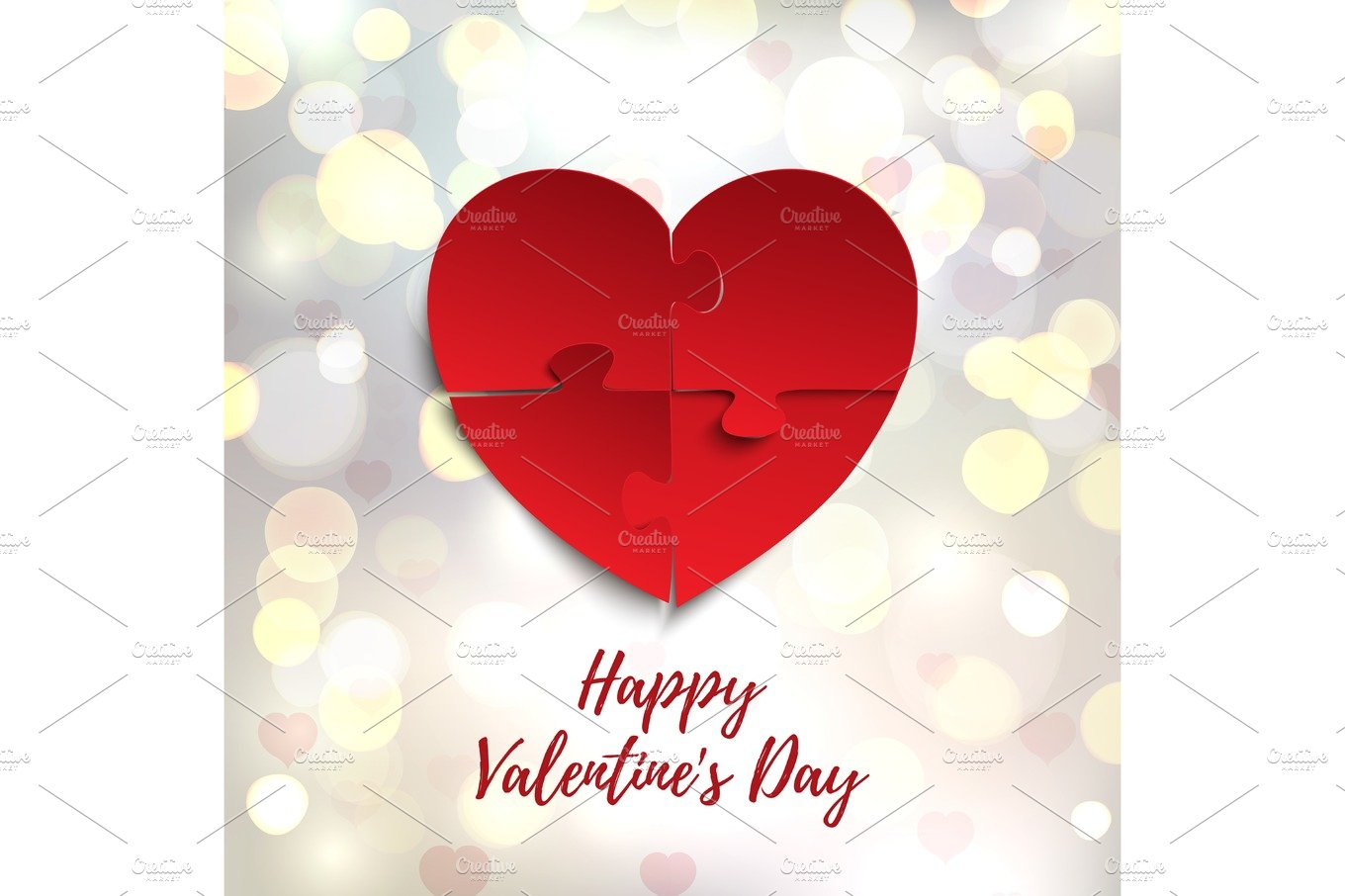 Happy Valentines Day Greeting Card Template Jigsaw Puzzle Pieces