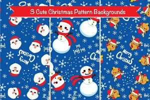 Three Christmas Pattern Backgrounds