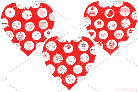 Red Love Hearts With Drawings