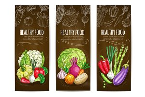 Healthy vegetarian vegetables sketch banners