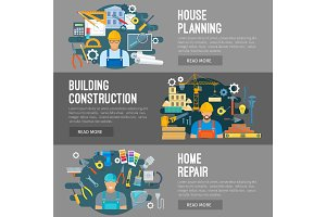 House building, construction repair flat banners
