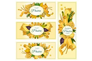 Pasta macaroni Italian cuisine vector banners set