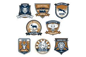 Heraldry icons of wild safari animals